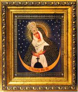 "Virgin Mary ""Ostrobramska"", Wood Framed Icon with Crystals and Glass"