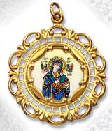 Virgin of Passion, 10KT Gold Framed, Porcelain & Enamel Medal