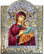 Virgin Mary Perpetual Help, Serigraph Icon  in Silver / Gold Plated Riza