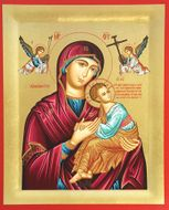 Virgin of Passion (In Red), Serigraph Orthodox  Icon with Stand