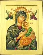 Virgin of Passion - Lady of Perpetual Help (in Green), Serigraph Icon