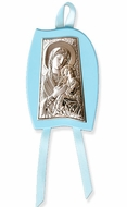 Virgin of Passion, Laminated Silver Icon, Religious Gift For Favors