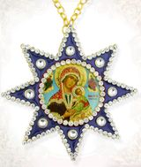 Virgin of Passion (Strastnaia), Ornament Icon Pendant with Chain, Blue