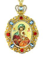 Virgin of Passions - Lady of Perpetual Help, Jeweled  Icon Pendant with Chain