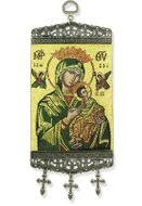 Virgin of Passions, Textile Art  Tapestry Icon Banner,  Green