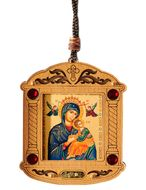 Virgin Mary Perpetual Help, Wooden Icon Shrine Pendant  on Rope