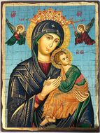 Virgin Mary Perpetual Help (In Blue), Greek Serigraph Orthodox Icon