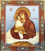 Virgin Mary of Pochaev (Pochaevskaya),   Embossed Printing on Wood, Gold Foil Icon