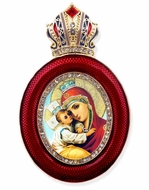 Virgin of Pochaevskaya, Egg Shape Framed Ornament Icon
