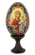 Virgin of Smolensk, Wooden Icon Egg with  Stand