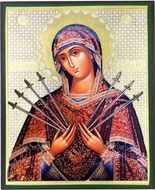 Virgin Mary of Sorrows, Orthodox Christian Gold Foil  Icon