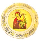 Virgin of Tenderness,   Icon Plate, 24 KT Gold Decorated
