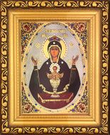 "Virgin Mary ""The Inexhaustible Cup"",  Framed  Icon with Crystals and Glass"