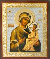 Virgin Mary Tikhvinskaya, Gold & Silver Foil Mini  Icon