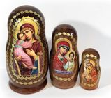 Virgin of Vladimir,  3 Nesting Icon Doll, Hand Painted, 4""