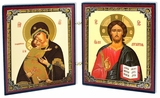 Virgin of Vladimir & Christ the Teacher, Orthodox Mini Diptych Icon