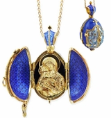 Virgin of Vladimir,  Egg Pendant Locket,  Sterling Silver, Gold Gilded