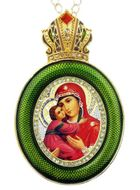 Virgin of Vladimir,   Egg Shape Framed Ornament Icon