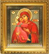 Virgin of Vladimir, Framed Orthodox Icon with Crystals and Glass