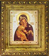Virgin of Vladimir, Framed Orthodox Icon with Crystals & Glass