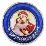 Virgin of Vladimir   Icon in Round Style Frame with Stand
