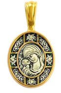 Virgin of Vladimir Icon Pendant, Silver 925, Gold Plated, Small