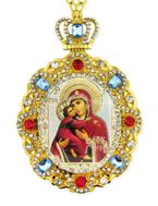 Virgin of Vladimir, Jeweled  Icon Pendant with Chain