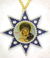 Virgin of Vladimir, Ornament Icon Pendant with Chain, Blue