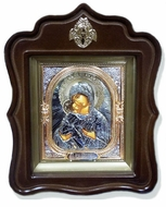 Virgin of Vladimir, Orthodox  Wood  Framed Icon With the Glass