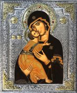 Virgin of Vladimir,   Serigraph  Icon in Silver /  Gold Plated Riza