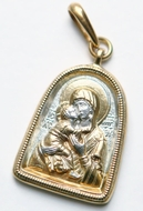 Virgin of Vladimir, Sterling Silver, Reversible Gold Plated  Pendant Medal