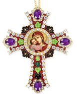 Virgin of Vladimir Icon in Jeweled Wall Cross