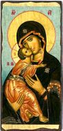 Virgin of Vladimir, Orthodox Christian Serigraph Panel Icon
