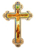 Three Barred Wooden Cross with Crystal Incense