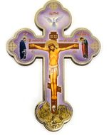 Decoupage Wooden Cross with Corpus Crucifix