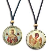 Guardian Angel & St Nicholas, Reversible Icon on Rope