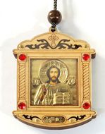 Wooden  Gold Tone Metal Pendant on Rope with Icon of Christ