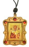 Wooden  Gold Tone Metal Pendant on Rope with Icon of Saint Nicholas