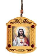 Sacred Heart of Jesus, Wooden Icon Shrine Pendant on Rope