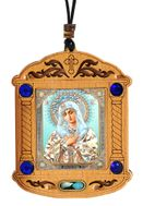 Virgin of Extreme Humility, Wooden Icon Shrine Pendant on Rope