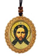 Holy Face of Jesus Christ, Wooden Icon Pendant on Rope