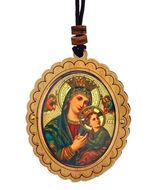Virgin Mary Perpetual Help, Wooden Icon Pendant on Rope