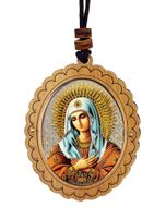 Virgin Mary Extreme Humility, Wooden Icon Pendant on Rope