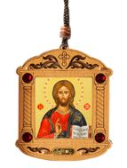 Christ The Teacher, Wooden Icon Shrine Pendant on Rope