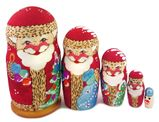 Wooden Santa 5 Nesting Dolls, Hand Carved