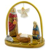 Wooden Set Nativity of Christ with Angel, Hand Carved