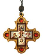 Car / Room Wooden Cross on Rope with Mini Icons