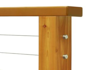 Western Red Cedar wood cable railing post with cable infill