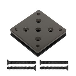 Plates for deck mounting aluminum cable railing posts