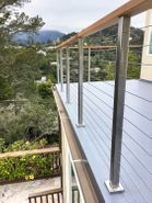 Square Stainless Steel Posts w/ Wood Rail - Novato, CA